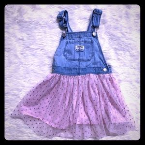 OshKosh B'gosh Overall Denim Pink Tulle Dress